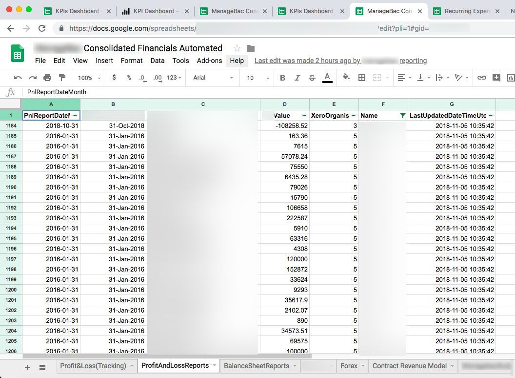 Xero to Google Sheet Consolidation